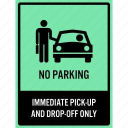 cannot, do not, drop-off, no, parking, pick-up, waiting icon