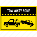 car, illegal, parking, sign, tow, tow away, tow truck icon