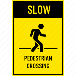 crossing, pedestrian, person, sign, slow, walking, warning icon