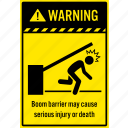 accident, boom gate, notice, parking, person, reminder, warning icon