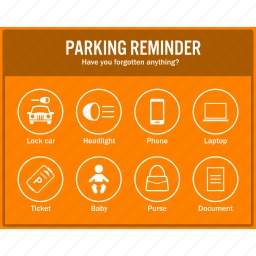 car, info, information, notice, noticeboard, parking, reminder icon