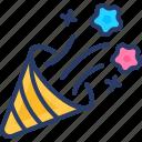 celebration, cone, confetti, decoration, party, popper, trumpet