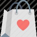 bag, gift, heart, love, present, romantic, shopping icon