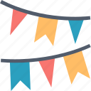 decor, decoration, festival, flags, garland, paper, party icon