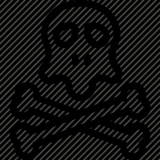 danger, dead, jolly roger, skull, toxic icon