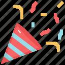 popper, celebration, confetti, fun, birthday, party