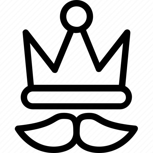 crown, funny, hipster mask, moustache, party props icon