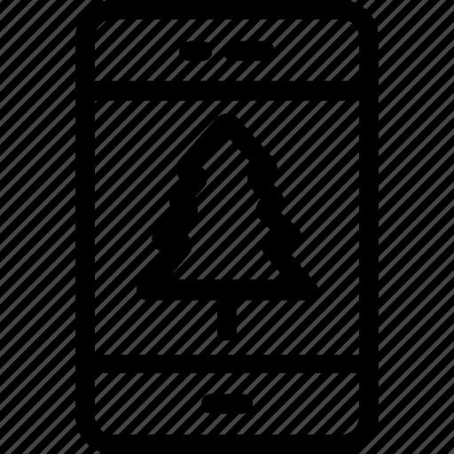 application, christmas app, mobile, pine tree, tablet icon