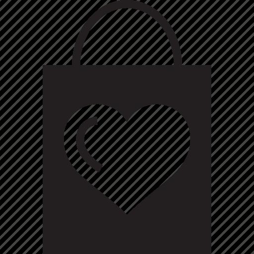 gift bag, heart, heart sign, love, shopper, shopping, shopping bag icon