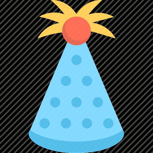 birthday, birthday cap, cone hat, party, party cap icon