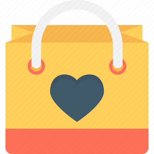 bag, heart, shopping, shopping bag, valentine gift icon