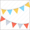 decoration, party, pennants, buntings, party flags