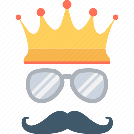 crown, glasses, hipster, moustache, party props icon