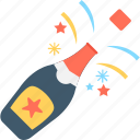 alcohol, celebration, party, popping cork, splashing champagne icon