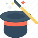 magic, magic trick, magician, magician hat, wand icon