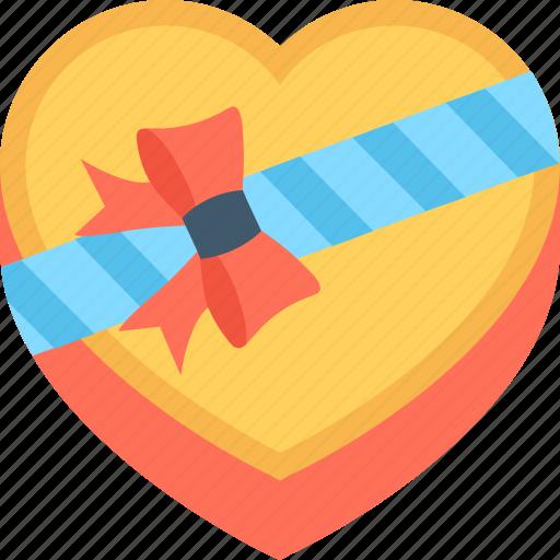 gift, gift box, heart, present, valentine gift icon
