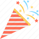confetti, decorations, party, party popper, streamers icon