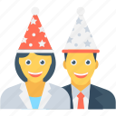 birthday party, couple, enjoyment, fun, party icon