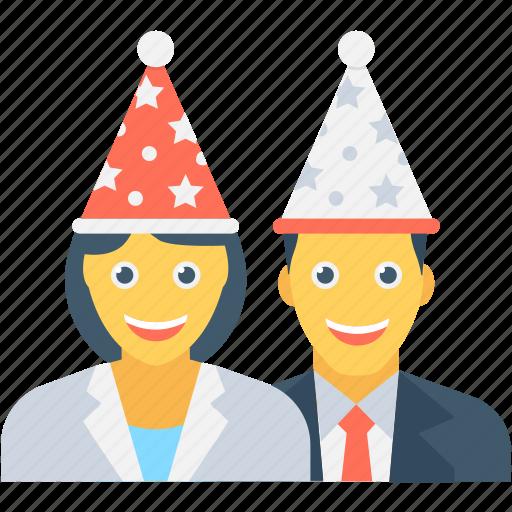 birthday party, couple, enjoyment, fun, party icon