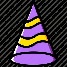 birthday, celebration, hat, party icon