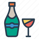 alcohol, bottle, glass, wine icon