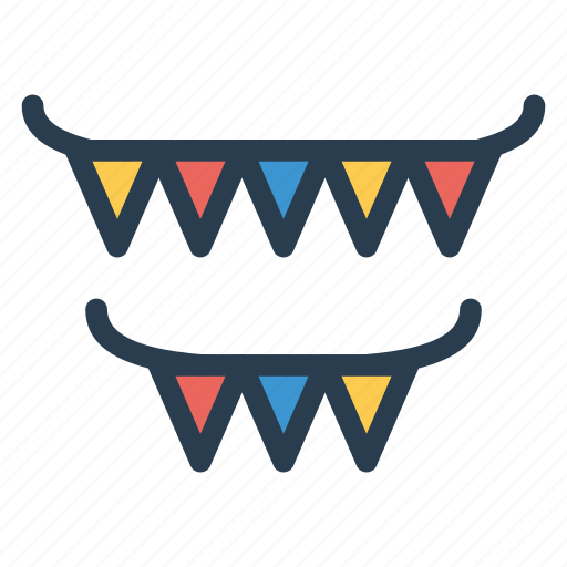 bunting, decoration, flags, party icon