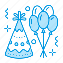 balloons, birthday, celebration, hat, party icon