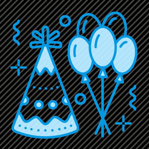 balloons, birthday, celebration, hat, party icon