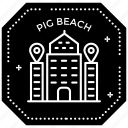 passport stamp, pig beach, pig beach logo, seal stamp, travel stamp, visa stamp icon