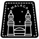 malanga stamp, malanga sticker, passport stamp, seal stamp, visa stamp icon