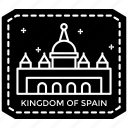 city logo, landmark spain, passport stamp, spain stamp, travel to spain icon