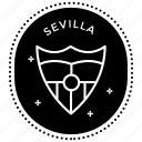 fc label, game logo, sevilla stamp, sports stamp, stamp icon