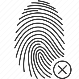 biometric, finger, fingerprint, id, rejected, scan, security icon
