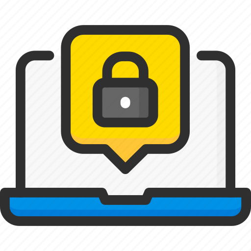 access, data, laptop, notification, password, protection, security icon