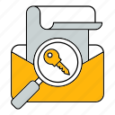 email, key, massage, protect, protection, search, security icon