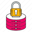 database, lock, padlock, protect, protection, security, server icon