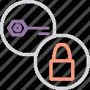 authentication, encryption, key, lock, password, protection, secure icon