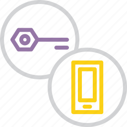 authentication, key, mobile, password, phone, protection, secure icon