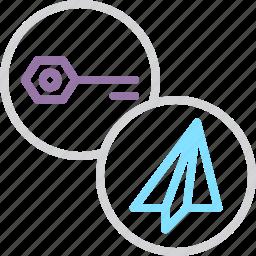 key, password, private, public, secure, send, share icon
