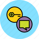 authentication, chat, key, message, password, privacy, protection icon