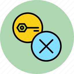 authentication, cancel, key, password, remove, secure, wrong icon