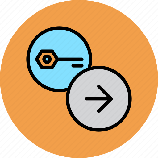 authentication, forward, key, next, password, proceed, secure icon