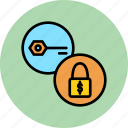 authentication, funds, key, lock, password, secure, seize icon