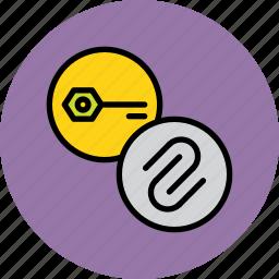 attachment, authentication, key, password, private, public, secure icon