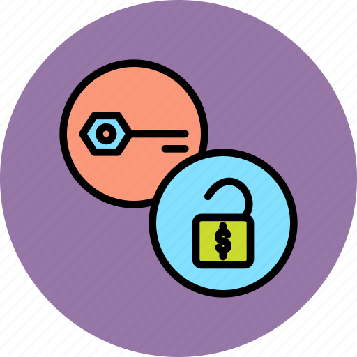 authentication, funds, key, password, release, secure, unlock icon