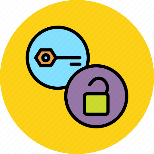 authentication, decryption, key, password, protection, secure, unlock icon