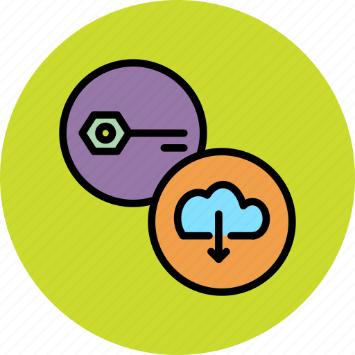 cloud, download, password, private key, protection, public key, secure icon