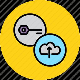 cloud, password, private key, public key, secure, store, upload icon