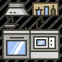 fumehood, kitchen, microwave, sink, stove icon