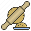 bakery, bread, kitchen, pin, rolling icon